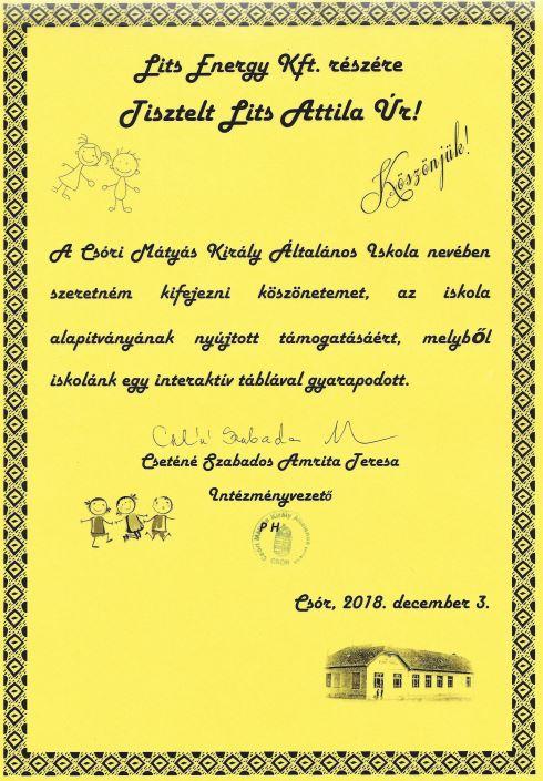 A lakóautó bérlésekből befolyó összegek egy részét, a Szózi Mátyás Király Általános Iskola részére adományoztuk